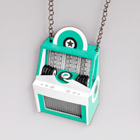Vintage Jukebox Necklace: yellow, green, blue, brown