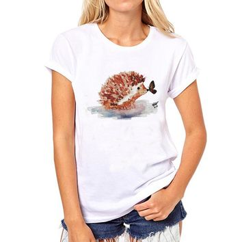 New 2017 Fashion Hedgehog Kiss Butterfly T Shirt Women Summer Novelty Paint Printed Tops Hispter Round Neck T-shirts
