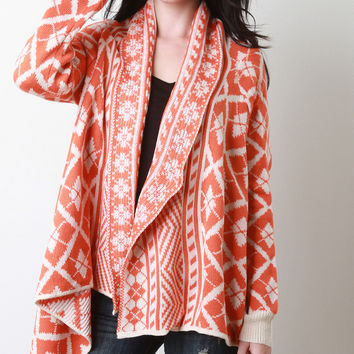 Two-Tone Argyle Draping Cardigan