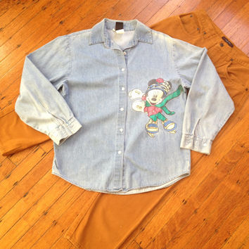 Vintage Mickey Mouse Button Up Shirt Light Denim Ice Skating Mickey Mouse Button up Worn Faded and Bleached Size Medium