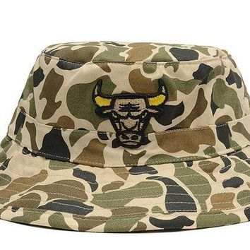 DCCKBE6 Chicago Bulls Full Leather Bucket Hats Camouflage
