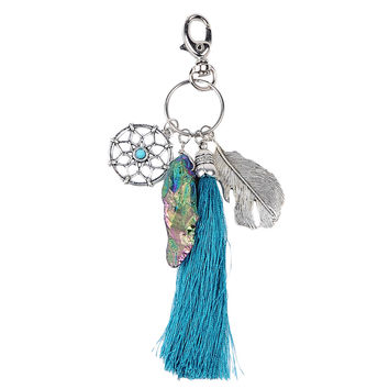 Women Natural Stone Turquoise Dreamcatcher Boho Fashion Keychain  SN9