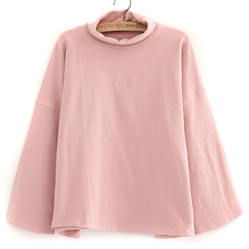 Pink Dropped Shoulder High Neck Plain Sweatshirt