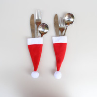12pcs /lot Christmas Hat Silverware Holders Christmas Ornaments For Tables New Year Home Decor