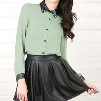 T3489 Green Studded Leather Collar Chiffon Blouse and Shop Apparel at MakeMeChic.com