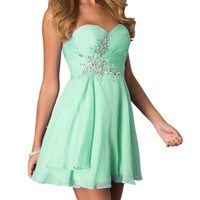 Fashion Plaza Short Strapless Sweetheart Prom Dress Crystal D0371 (US2, Mint)