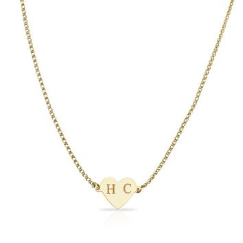 14K Solid Yellow/Rose Gold Personalized Custom Engraving Initial Name Necklace Heart 14 15 16 Inches Choker Necklaces