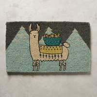 Mountain Llama Doormat by Anthropologie in Turquoise Size: One Size Rugs