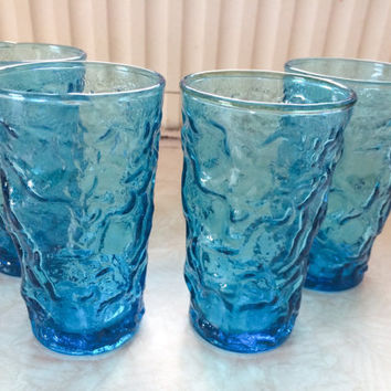 Vintage 1960's MCM Mid Century Sky Blue Breakfast Juice Glasses