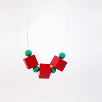 Wooden necklace, cube necklace, wood bead necklace, geometric jewelry, wood necklace, red and turquoise, minimal jewelry, boho chic