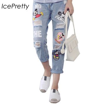 2016 Ripped Jeans For Women Hollow Out Loose Jeans Woman Cartoon printing Jeans Female Denim Pant pencil Pants