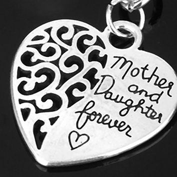 Mother and Daughter Forever Heart Key Ring