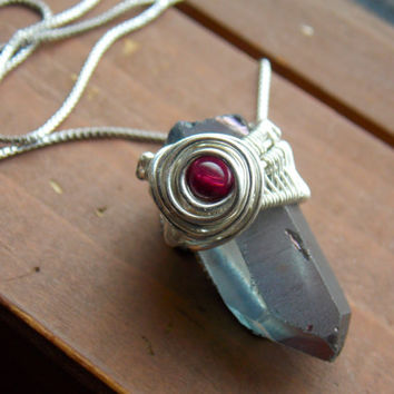 Tanzan Aura Quartz Crystal Pendant with Garnet and Sterling Silver // Heady Wire Wrapped Jewelry