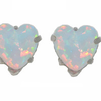 14Kt White Gold Opal Heart Stud Earrings