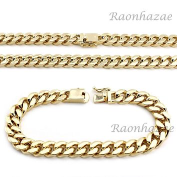 "Hip Hop Men 14k Gold Finish Heavy Cuban Link Chain / Bracelet 9"" 24"" 30"" 36"" Set"