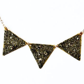 Gold triangle necklace - pyrite necklace - pyrite jewelry - gold necklace - gold jewelry - gold bunting necklace - pyrite bunting necklace