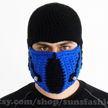 Sub-Zero Mortal Kombat Mask Crochet Beanie Hat Slouch Mens Handmade Winter Men Snowboard Ski Hat unisex game fashion