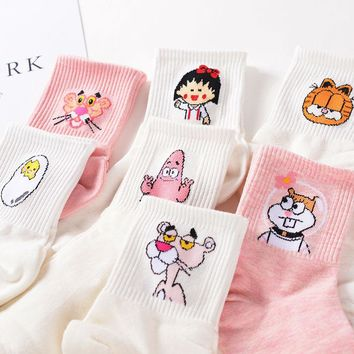 Japanese Kawaii Women and Men Cartoon Tube Socks Cute Egg Rabbit Panther Animal Cotton Long Socks Sweet Color Pink White Sox