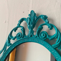 Fairy Princess Mirror - Ornate Vintage Frame in Bright Turquoise - 10 by 7 inches