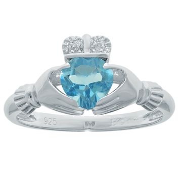 .97 Ct Heart Natural Blue Topaz and Diamond Accent 925 Sterling Silver Ring