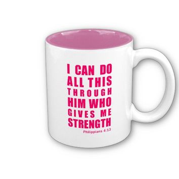 Philippians 4:13 Bible Scripture Pink Two Tone Mug from Zazzle.com
