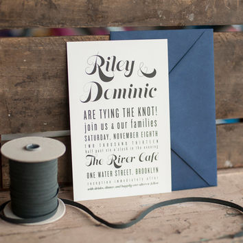 The RIley Wedding Invitation, Typography Wedding Invitation, Rustic Wedding Invitation, Wedding Invitation, Rustic wedding invitation, eco
