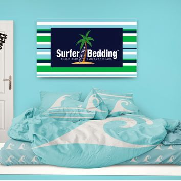 Aqua Epic Waves Surf Sheet Set from Surfer Bedding