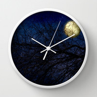 Art Wall Clock Blue Moon Modern photography home decor Navy Royal Blue Sky photo full moon wall art clock black tree branches nature Gothic