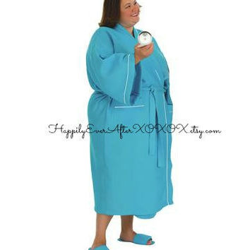Monogram Waffle Weave Plus Size Robe Wedding Party Gift Auqua Turquoise Blue