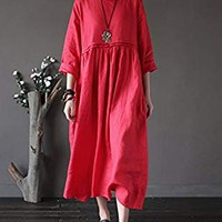 SUFEI Women's Casual Loose Fit With Poceket Midi Dress Plus Size Oversized Red
