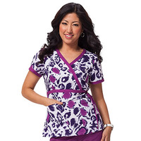 Koi Happiness Scrubs Women's Kathryn Print Wrap Scrub Top