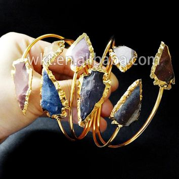 Exclusive! Gorgeous natural double stone arrowhead bangles, 24k gold trim double stone bracelet bangles