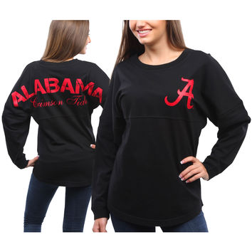 Women's Alabama Crimson Tide Black Pom Pom Jersey Oversized Long Sleeve T-Shirt