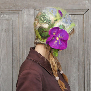 Spring felted cloche hat, retro style hat, green gray and brown with violet flower and green leaves. OOAK