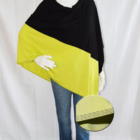 Color block Two Tone Poncho/ Lightweight Nursing Cover/ Nursing Shawl/ One shoulder Top/ New Mom Gift/ Neon Boho Poncho Top/ Tribal