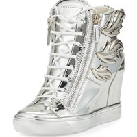 Giuseppe Zanotti Metallic Leaf High-Top Wedge Sneaker, Silver