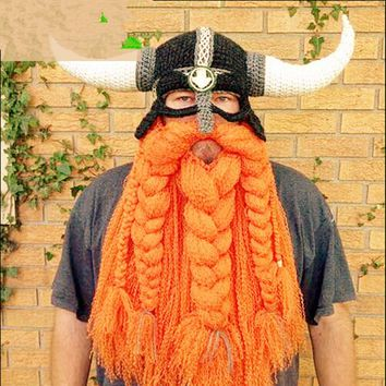 ING Funny Handmade Crochet Cartoon Halloween Viking Horn Party Mask Hat Costumes Knitted Mask Xmas Maxpower Face Mask
