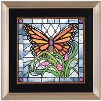MONARCH STAIN GLASS BUTTERFLY - Product Details-KeepsakeNeedleArts.com