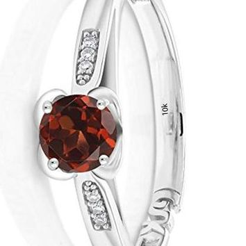 CERTIFIED 0.59 Ct 10K White Gold Round Red Garnet and Diamond Engagement Ring