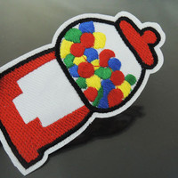 Candy Machine Patches - Iron on or Sewing on Patch Candies Machine Patches Red White Patch Embellishments Embroidery fonts