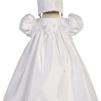 Shantung & Floral Embroidered Tulle w Sequins Christening Dress (Baby Girls Newborn - 18 months)