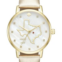 kate spade new york metro texas state of mind leather strap watch, 34mm | Nordstrom