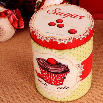 Retro Vintage Red Yellow Cupcake Polka Kitchen Coffee Tea Sugar Candy Biscuit Container Jar Tin Metal Zakka