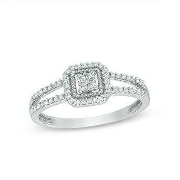 1/5 CT. T.W. Composite Diamond Cushion Frame Promise Ring in 10K White Gold
