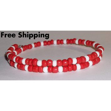 Plus Size Elegance Red-Orange & White Glass Beaded Artisan Crafted Stackable Bracelet
