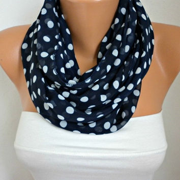 Navy Blue - Polka Dot Infinity Scarf Shawl Circle Scarf Loop Scarf Gift - for her --Navy Blue  White Polka Dot - fatwoman