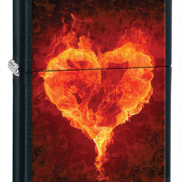 Zippo Burning Heart Black Matte Lighter