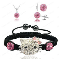 2015 Fashion Jewelry Hello Kitty Crystal Sets Micro Pave CZ Disco Ball Beads Crystal Jewelry Sets For Momen Free Shipping