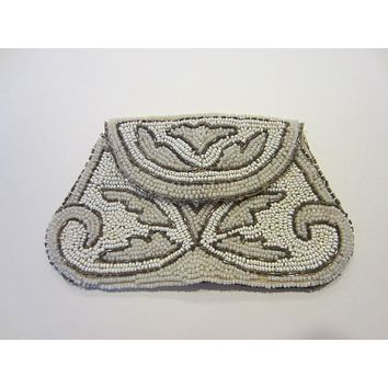 Art Deco Micro Beads Crochet Clutch Hand Made in France Beaded Handle