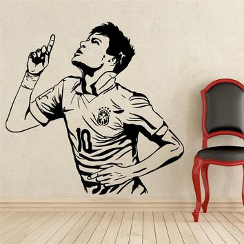 Home Decor Posters Sports wall stickers PVC Vinyl Removable Art Mural Football Star Neymar Goals boys room wall stickers # T178